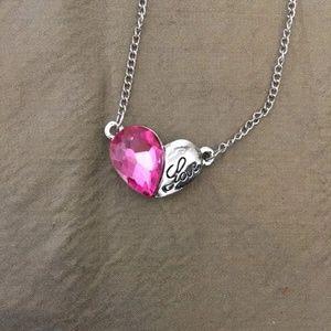 3/$25 ** Pink Swarovski Elements heart necklace